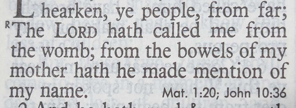 bible verses about abortion isaiah 49:1